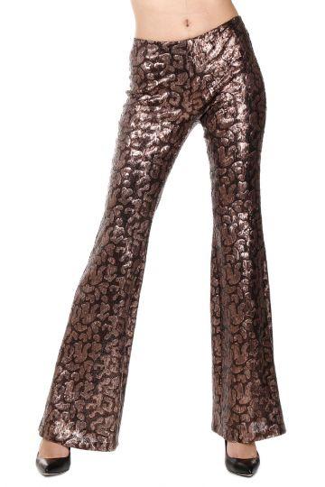 Pantaloni a Zampa con Paillettes