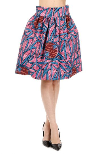Stretch Cotton Print Bubble Skirt