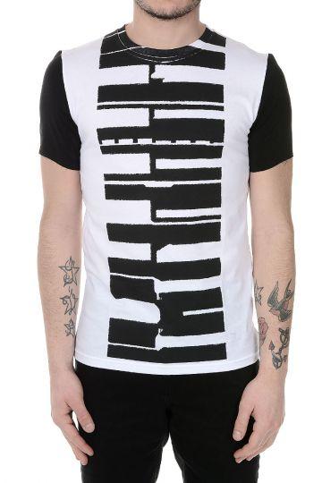 T-shirt Stampata in Cotone e Dettagli in Seta
