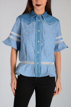 Camicia in Denim a Maniche Corte
