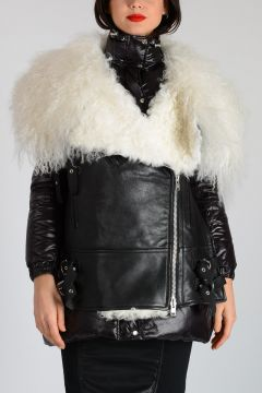 Nylon Down Jacket with Shearling Detail