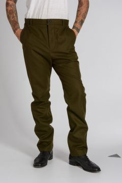 Wool Chino Pants with Knitted Details