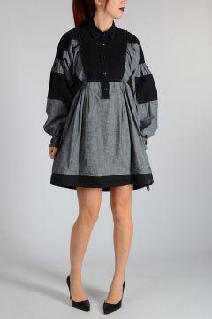 Shirt Dress with Denim Details