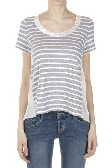 Striped T-Shirt with Mesh and Satin Inserts