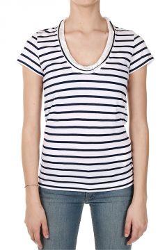 T-Shirt a Righe con Inserti in Raso
