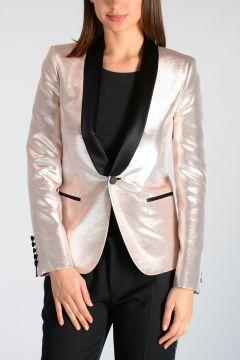 Silver Tone Fabric Tuxedo Blazer