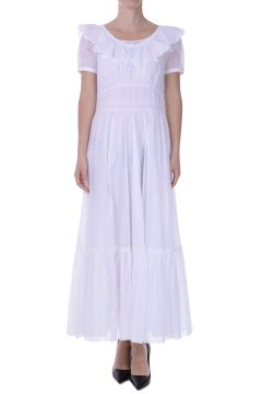 Vestito Lungo in Cotone con Galette e Ricami