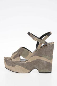 Sandalo SOFT CAMO in Pelle Scamosciata 13 cm