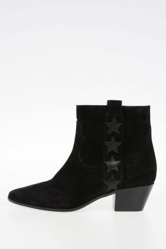 Suede Leather Embroidered Star Ankle Boots 5 cm