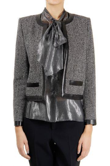 Faked pockets wool blended open blazer