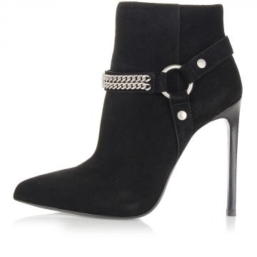 Heeled ankle boots with chain detail