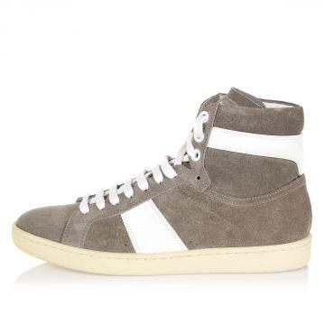 Sneakers alte in pelle con suola in gomma