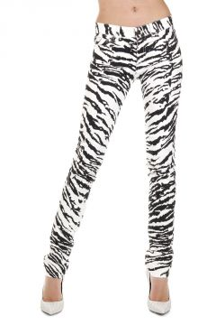 15 cm Animalier Patterned Stretch Denim Jeans
