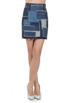 Patchwork Denim Mini Skirt