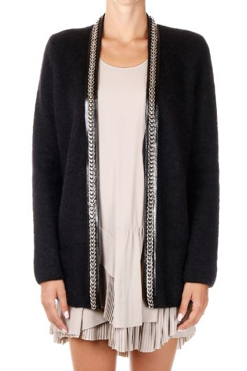 Open Cardigan with Details in Leather and Application