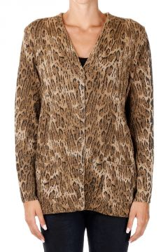 Wool Leopard Pattern Cardigan