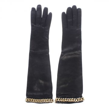 Golden Tone Chain Leather long Gloves