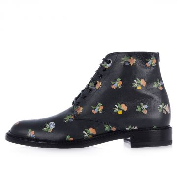 Printed GRUNGY FLOWER Leather Boots