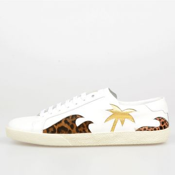 Leather  Sneakers with Leo Print Details