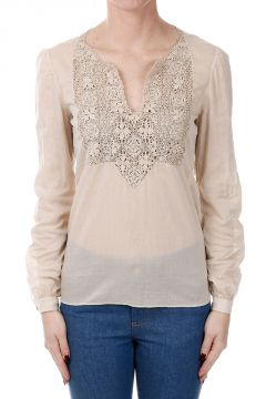 Embroidered Cotton Long Sleeve Top