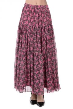 Floral Pattern Long Silk Skirt
