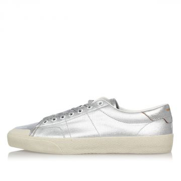 Leather Fabric Silver Sneakers