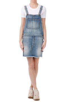 Jeans Denim Salopette With Mini Skirt