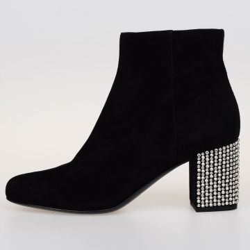 Suede Leather Ankle Boots With Chic Heel