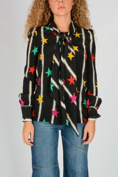 Stars Printed Silk Blouse