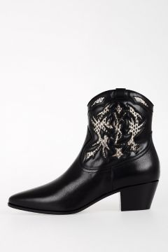 Leather Ankle Boots With Ayers Details