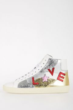 Leather & Glitter LOVE Sneakers