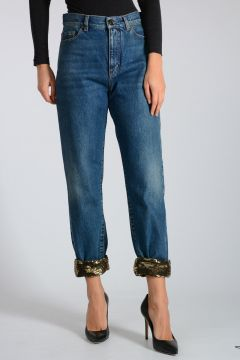 Jeans in Denim con Paillettes 16 cm