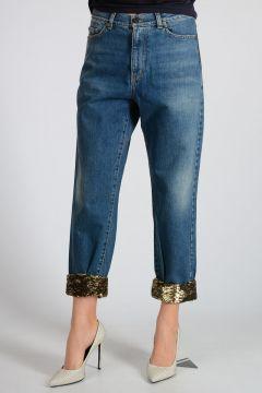 Jeans in Denim con Paillettes 16 cm