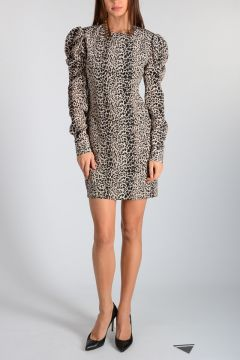 Leopard Printed Silk Dress