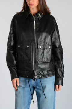 Leather Jacket with Jewel Details