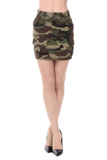 Military Cotton Mini Skirt