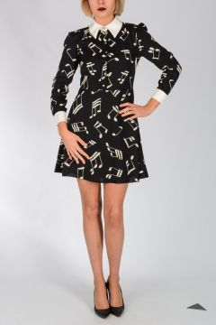 Musical Note Printed Shirt Dress