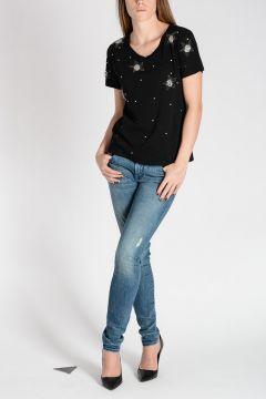T-shirt in Cotone Con Ricami Gioiello