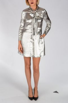 Silver Tone Silk Dress