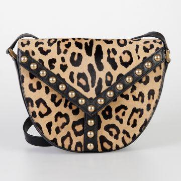 Studded Leopard Print Fur Shoulder Bag