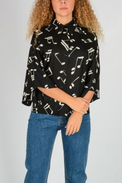 Kimono sleeves Musical Note Printed Blouse