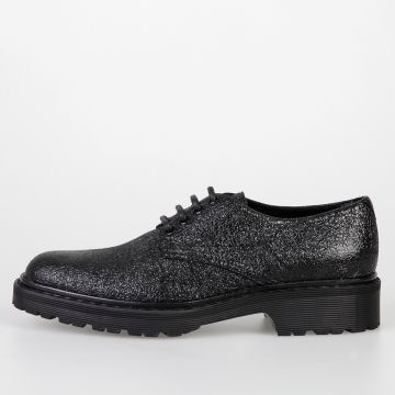 Leather & Glitter Derby Shoes