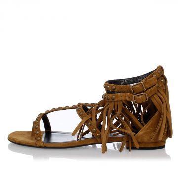 Leather Flat Sandals with Studs and Fringes