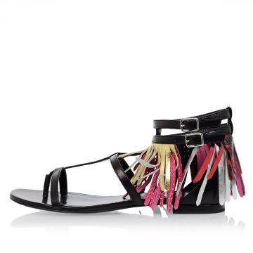 Leather Fringes and Studs Sandals