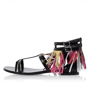Sandalo in Pelle con Frange e Borchie