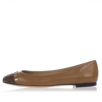 Leather PIM Ballet Flat Shoes