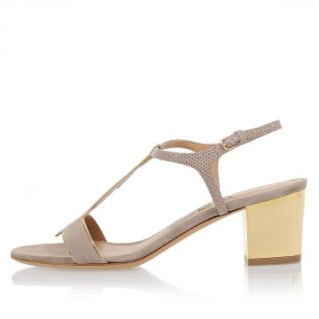 Leather MELLY Sandals With Gold Tone Heel 5 cm