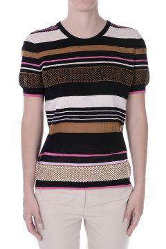 T-Shirt a Righe in Cotone e Seta