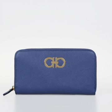 Leather Wallet with Gold Tone Logo
