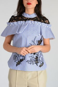 CUTWORK EMBROIDERY FRILL Shirt